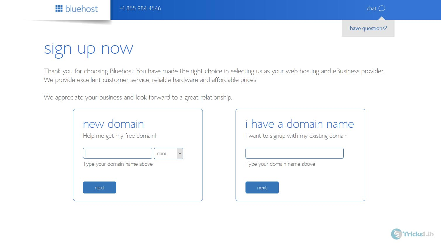 Bluehost Signup