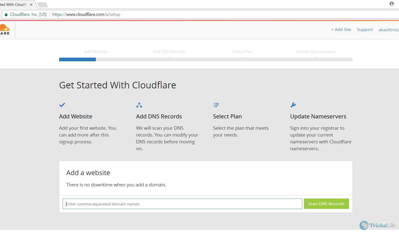 cloudflare setup begins