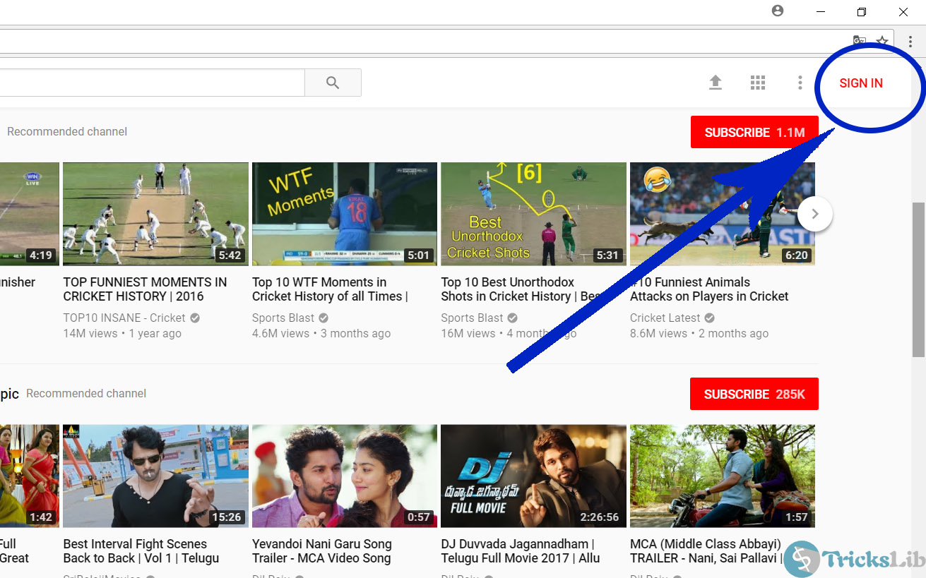 YouTube's Homepage