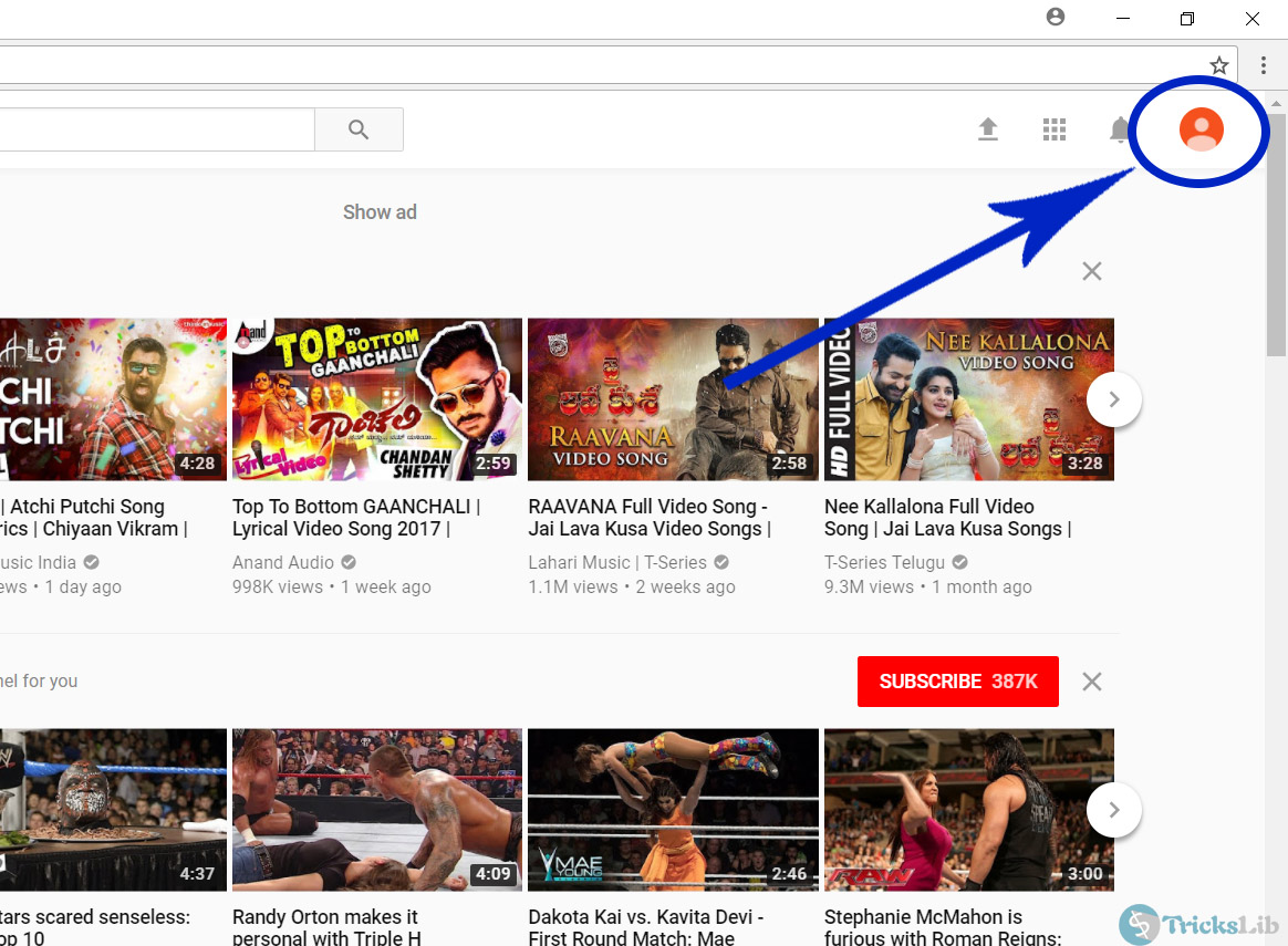 YouTube's Account Panel Page