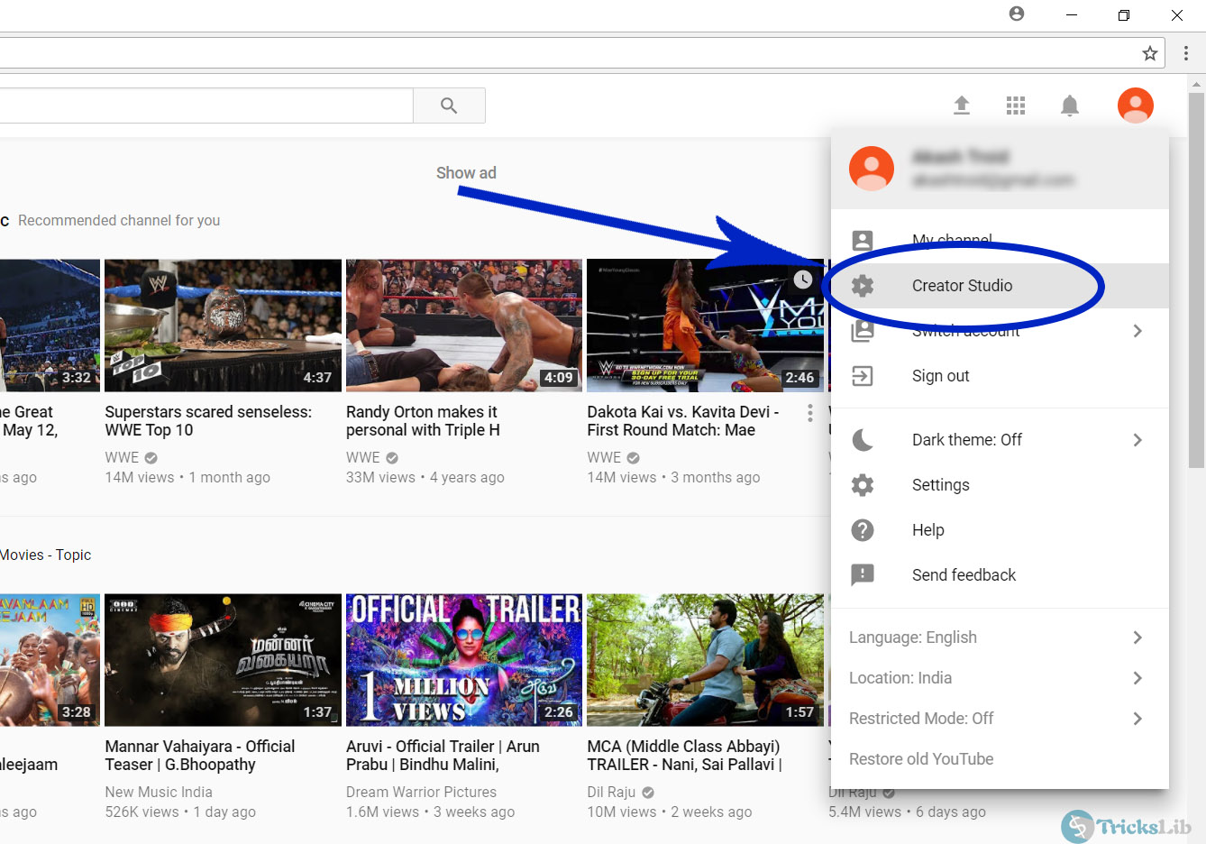 YouTube's Account Panel Page With Dropdown