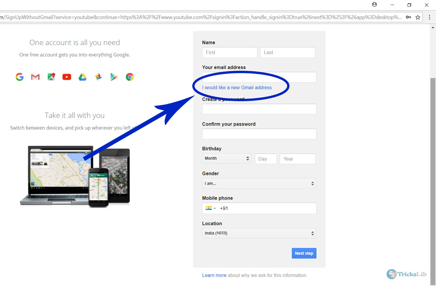 Google Sign Up Page